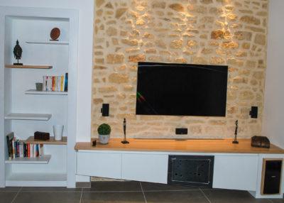 Meuble TV - Laque_bois_métal